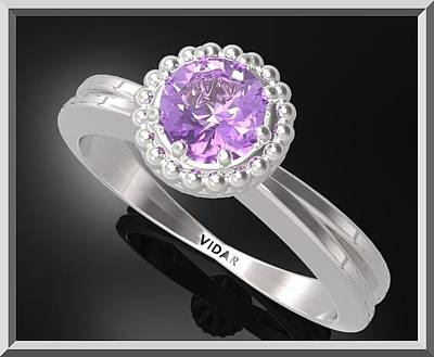 Custom Engagement Ring Jewelry - Purple Amethyst Sterling Silver Engagement Ring With Little Silver Balls by Roi Avidar