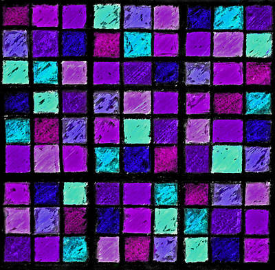 Digital Esoteric Photograph - Purple And Aqua Sudoku by Karen Adams