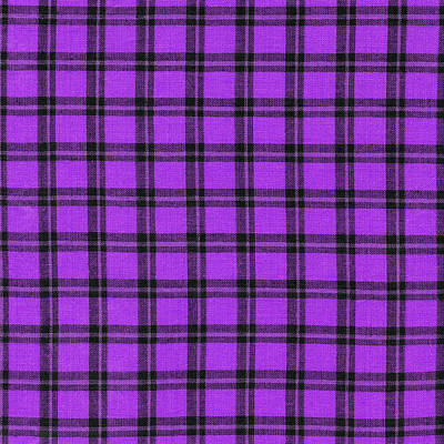 Purple And Black Plaid Textile Background Art Print by Keith Webber Jr