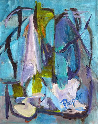 Caligraphy Painting - Purple And Blue Abstract by Betty Pieper