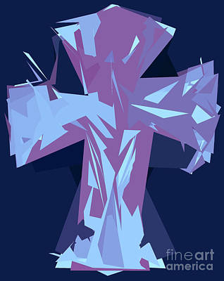 Purple And Blue Abstract Cross Design Pattern Art Print by Minding My Visions by Adri and Ray