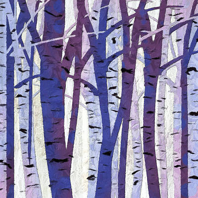 Blue Abstracts Painting - Plum And Blue Birch Trees - Plum And Blue Art by Lourry Legarde