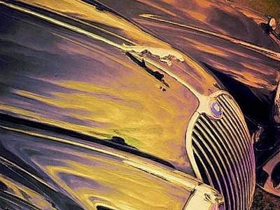 Painting - Purple And Gold Antique Jaguar - Horizontal by Lyn Voytershark