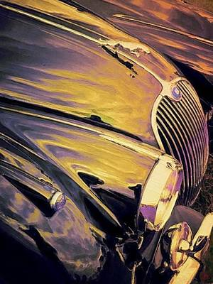 Painting - Purple And Gold Antique Jaguar - Vertical by Lyn Voytershark