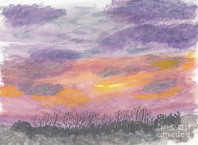 Painting - Purple And Gold November Sunset In West Michiganwatercolor by Conni Schaftenaar