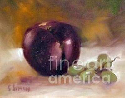 Painting - Purple And Grapes by Sally Simon