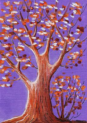 Tree Painting - Purple And Orange by Anastasiya Malakhova