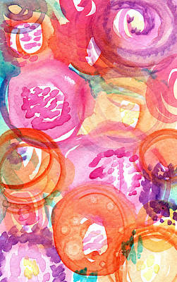 Flower Abstract Mixed Media - Purple And Orange Flowers by Linda Woods