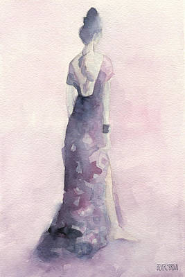 Abstract Fashion Designer Art Painting - Purple And Pink Evening Dress Watecolor Fashion Illustration by Beverly Brown Prints