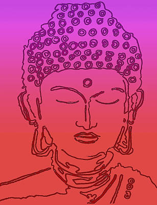 Digital Art - Purple And Red Buddha by Christine Perry