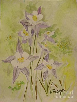 Painting - Purple And White Columbines by Laurie Morgan