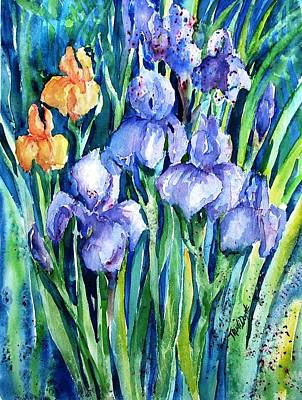 Olympus Painting - Purple And Yellow Irises In The Garden  by Trudi Doyle