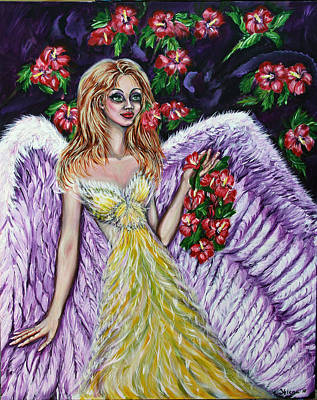 Otherworldly Painting - Purple Angel Of Love  by Yelena Rubin