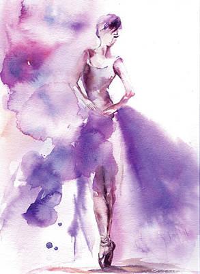 Ballerina Painting - Purple Ballerina I by Sophia Rodionov
