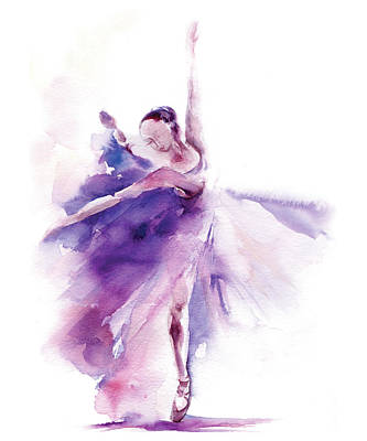 Ballet Dancers Painting - Purple Ballerina by Sophia Rodionov