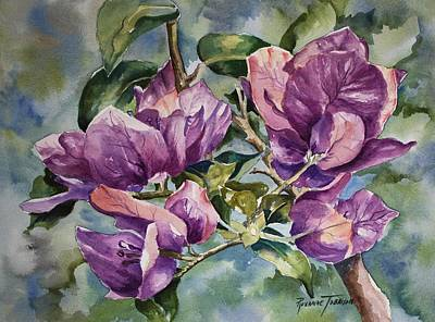 Painting - Purple Beauties - Bougainvillea by Roxanne Tobaison