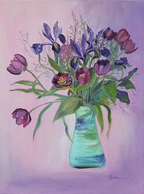 Painting - Purple Belle Bouquet  Tulips And Irises by Asha Carolyn Young