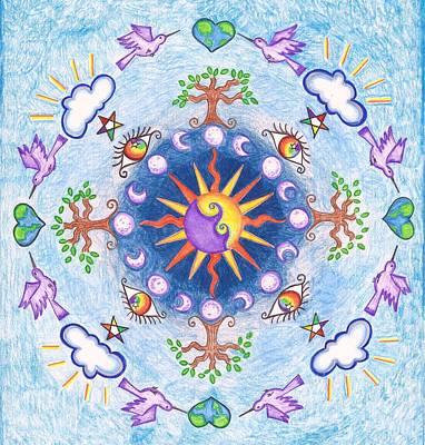 Wiccan Drawing - Purple Bird Mandala by Misty  Robinson