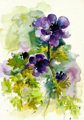 Mit Painting - Purple Blue Anemones - Flowers Watercolor by Tiberiu Soos