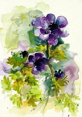 Purple Blue Anemones - Flowers Watercolor Art Print