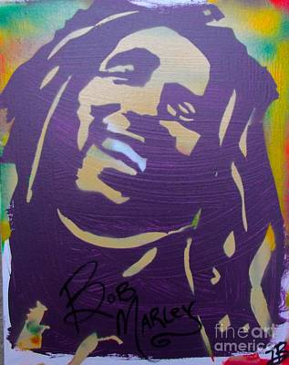 Black And White Flower Photography - Purple Bob Marley Smiling by Tony B Conscious