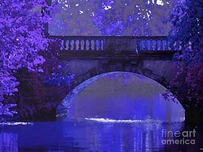 Maureen Digital Art - Purple Bridge In Evening Moonlight by Maureen Tillman