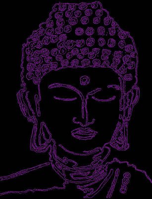 Digital Art - Purple Buddha by Christine Perry