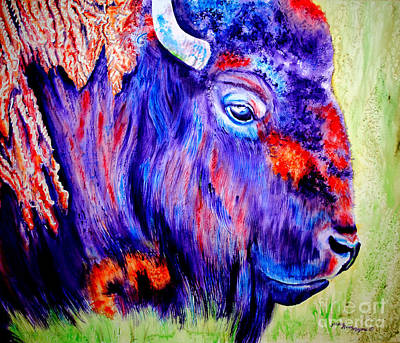 Painting - Purple Buffalo by Tracy Rose Moyers