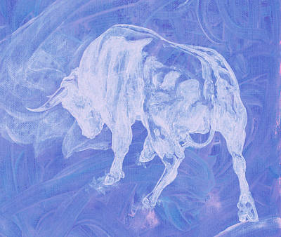 Purple Bull Negative Art Print