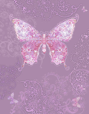 Purple Butterfly Floral Art Print by Alixandra Mullins
