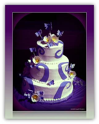 Purple Butterfly Wedding Cake Art Print by Michelle Frizzell-Thompson