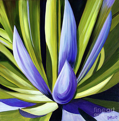 Purple Cactus Art Print by Debbie Hart