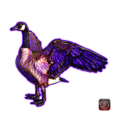 Mixed Media - Purple Canada Goose Pop Art - 7585 - Wb by James Ahn