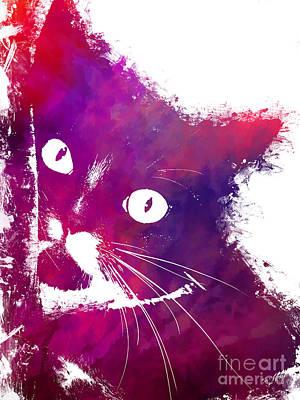 Kitty Digital Art - Purple Cat by Justyna JBJart