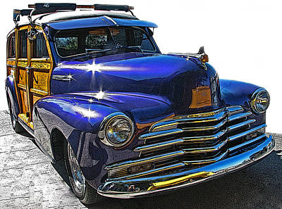 Purple Chevrolet Woody Art Print