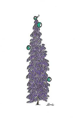 Drawing - Purple Christmas Tree by Andrea Currie