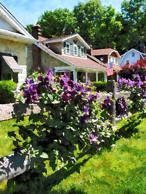 Purple Clematis On Rustic Fence Art Print by Susan Savad