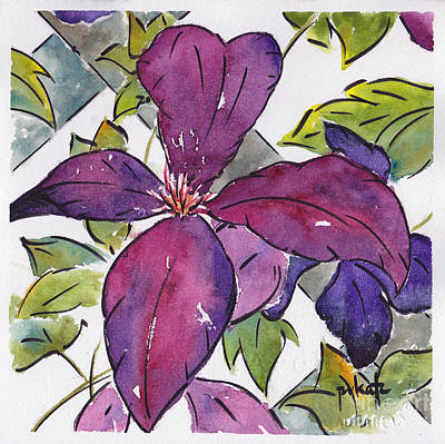 Painting - Purple Clematis by Pat Katz