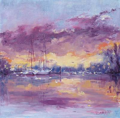 Purple Sky Painting - Purple Clouds by Laura Lee Zanghetti