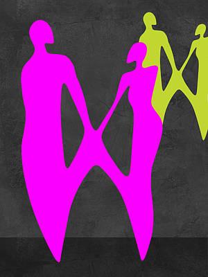 Love Making Mixed Media - Purple Couple by Naxart Studio