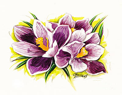 Purple Crocus Watercolor Art Print by GG Burns