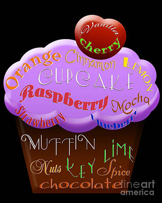 Digital Art - Purple Cupcake Typography by Andee Design