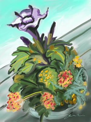 Painting - Purple Datura And Lantana by Jean Pacheco Ravinski