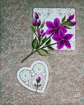 Purple Day Lilies And Doilies Original by Barbara Griffin