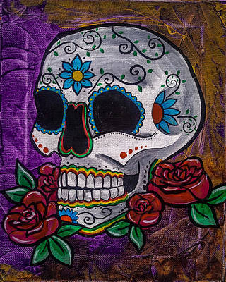 Saint-lo Painting - Purple Day Of The Dead Skull by Lovejoy Creations