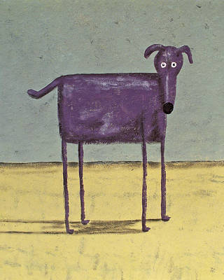 My Bed Painting - Purple Dog by Dan Engh