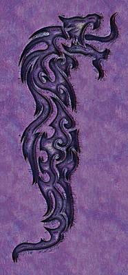 Dragon Digital Art - Purple Dragon by David G Paul