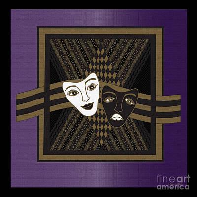 Digital Art - Purple Drama Mask by Megan Dirsa-DuBois