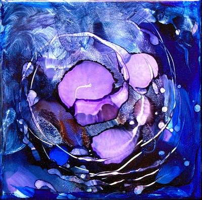Ceramic Art Tile Painting - Purple Energy by Judy Swircenski