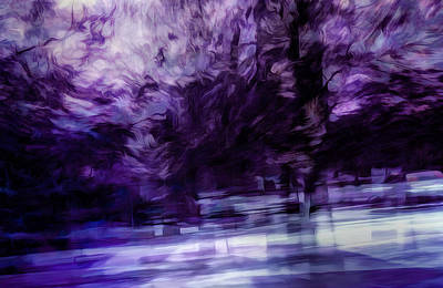Painterly Digital Art - Purple Fire by Scott Norris